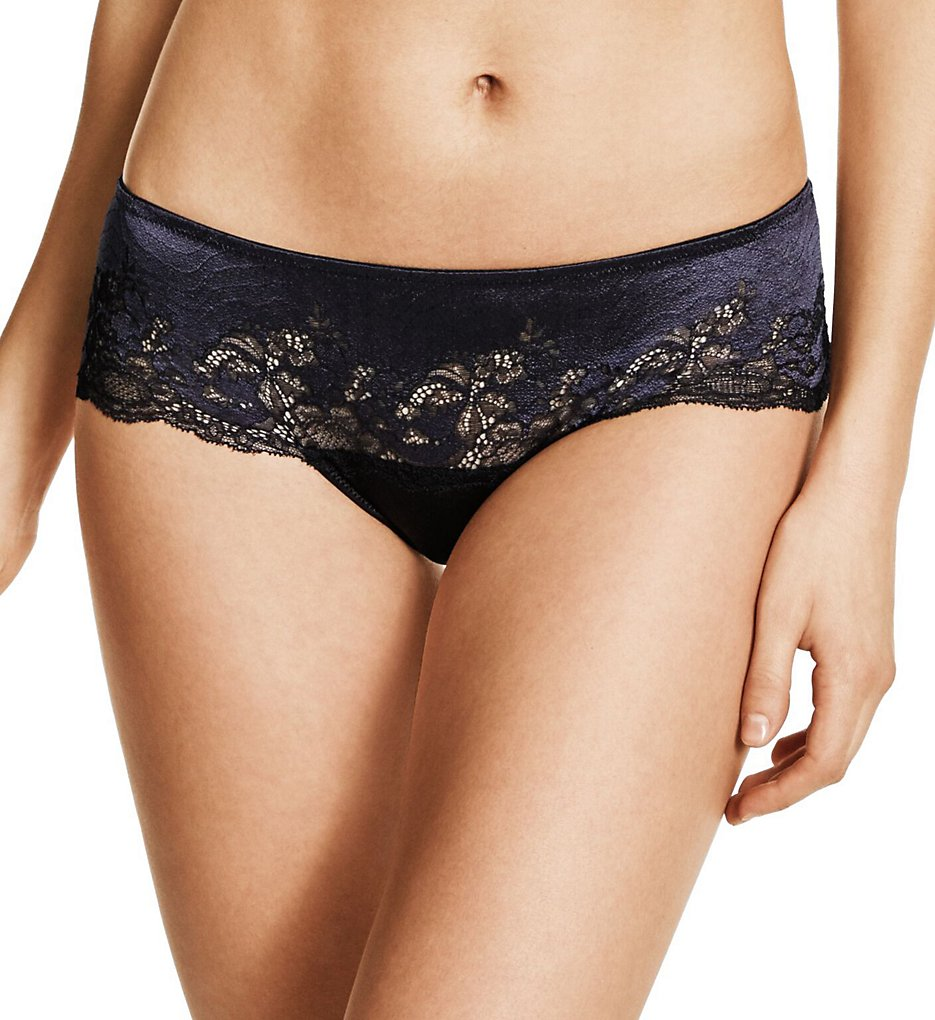 Wacoal >> Wacoal 845256 Lace Affair Tanga Panty (Black/Graphite XL)