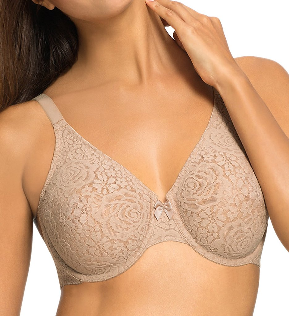 Wacoal - Wacoal 851205 Halo Lace Molded Underwire Bra with J-Hook (Toast 34B)