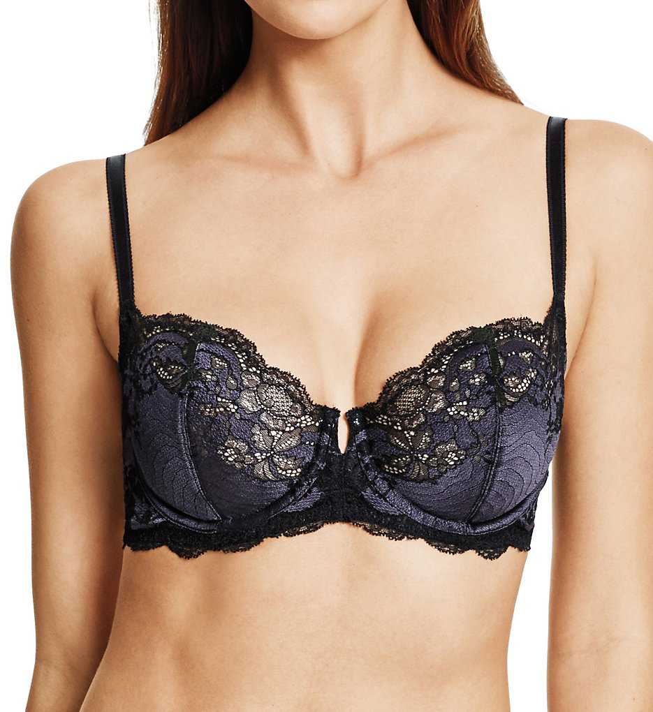 Wacoal >> Wacoal 851256 Lace Affair Underwire Bra (Black/Graphite 32C)