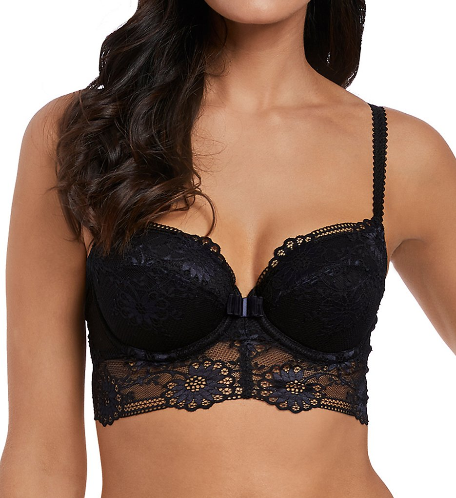 Wacoal >> Wacoal E134003 Adore Push Up Balcony Lace Longline Bra (Black/Navy 32C)