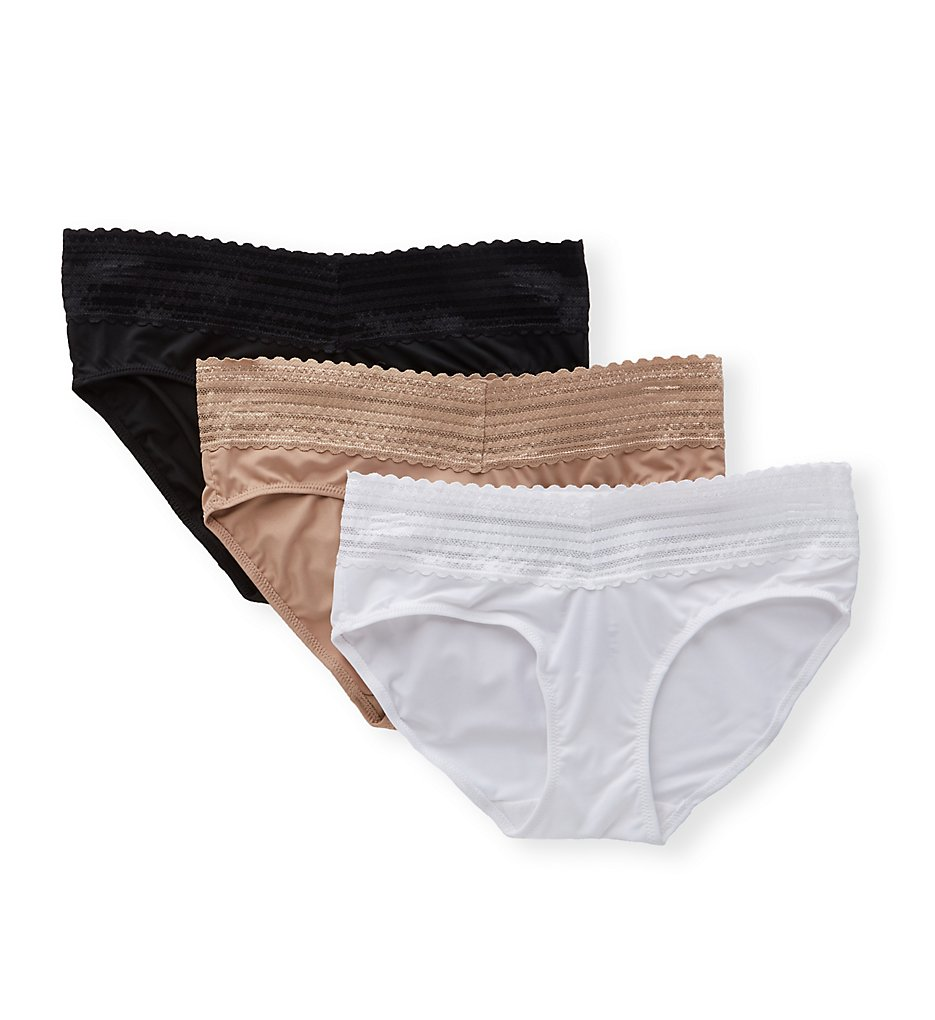 Warners - Warners 5609J3 No Pinching No Problems Hipster with Lace - 3 Pack (Black/Almond/White S)