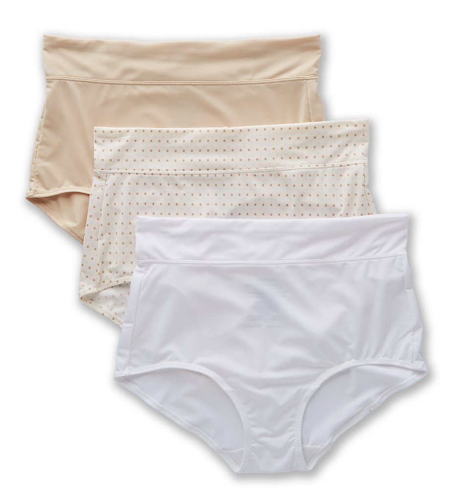 Warners : Warners 5738J3 No Pinching No Problems Tailored Micro Brief - 3PK (Sand/White/BodytoneDot M)