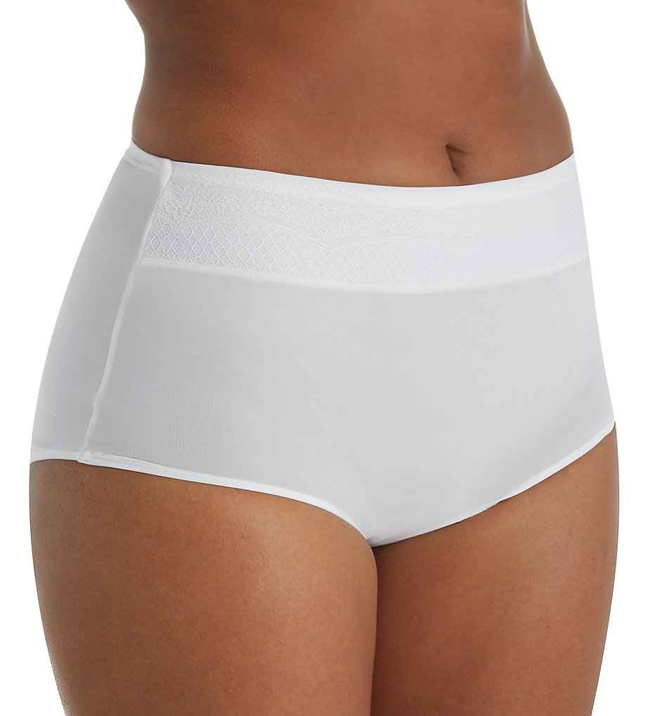 Warners : Warners RS7401P No Pinching No Problems Brief With Lace Panty (White/Rosewater M)