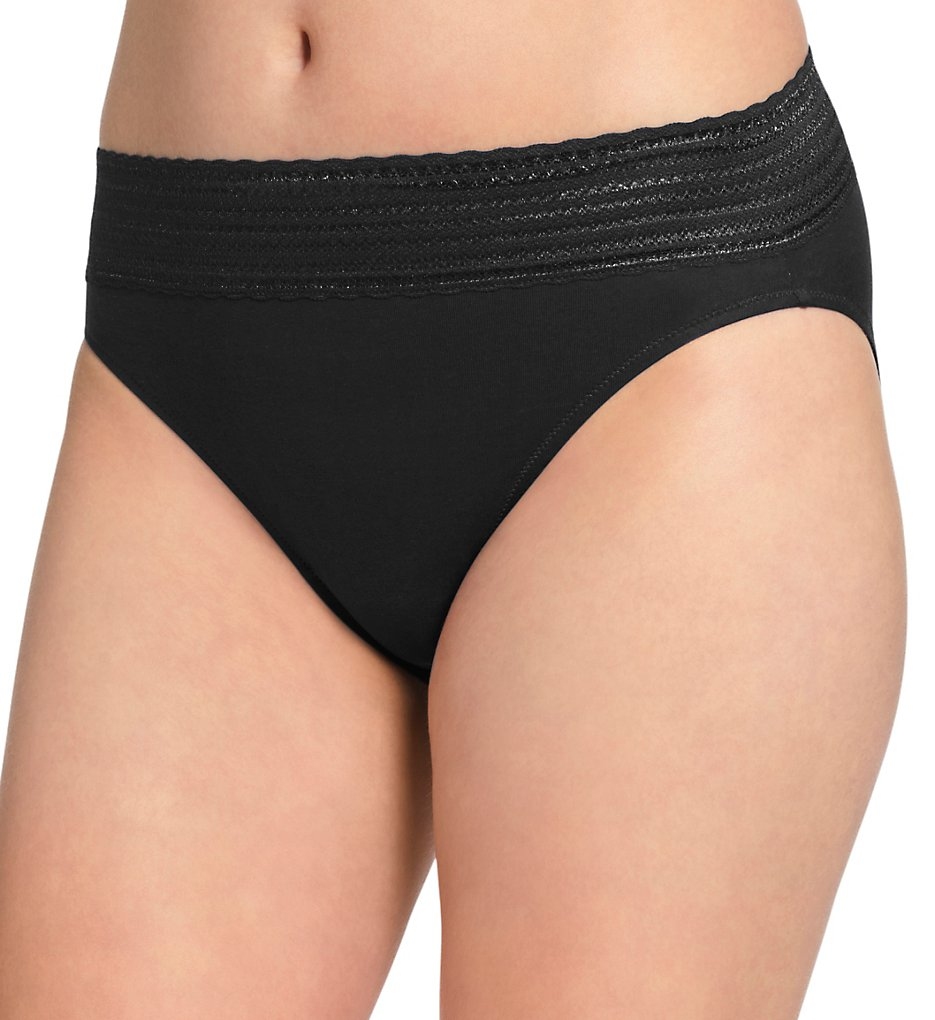 Warners : Warners RT2091P No Pinching No Problems Cotton Hi-Cut Panty (Black S)