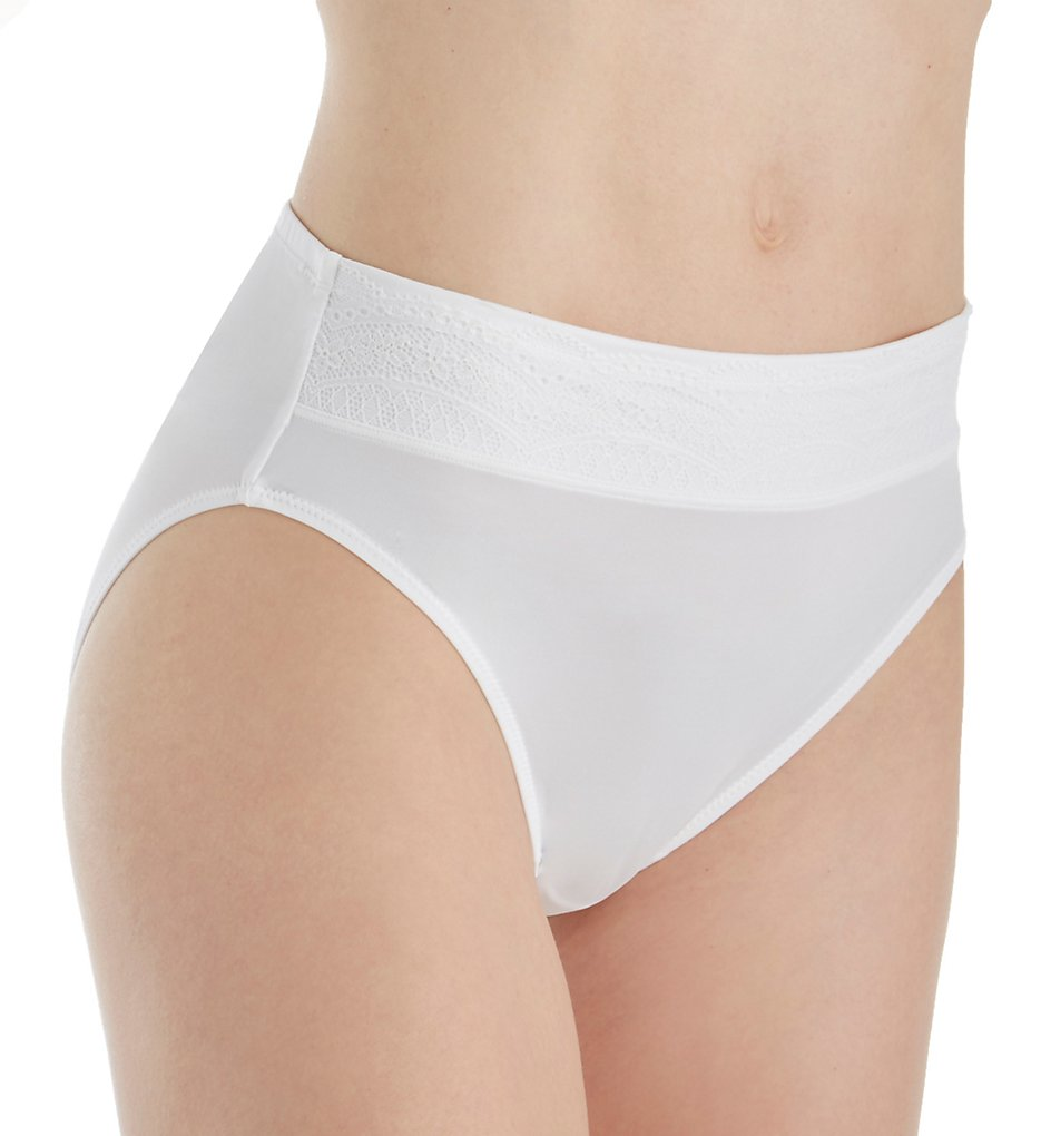 Warners - Warners RT7401P No Pinching. No Problems. Hi-Cut Panty with Lace (White/Rosewater S)