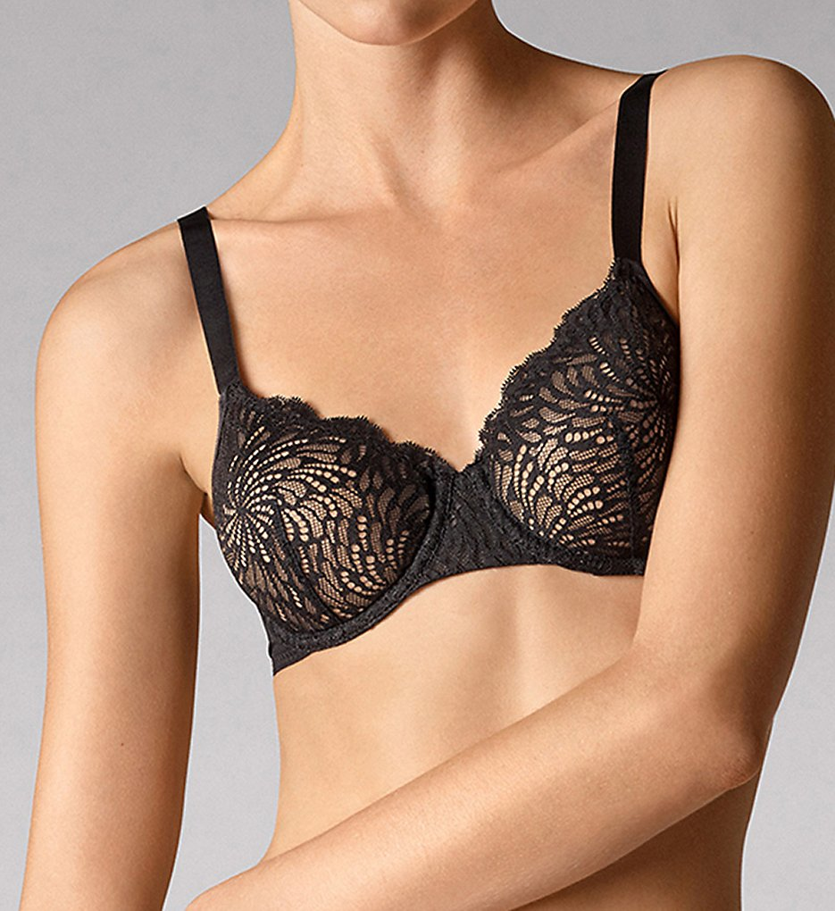 Wolford >> Wolford 69720 Tulle French Lace Underwire Bra (Black 32E)