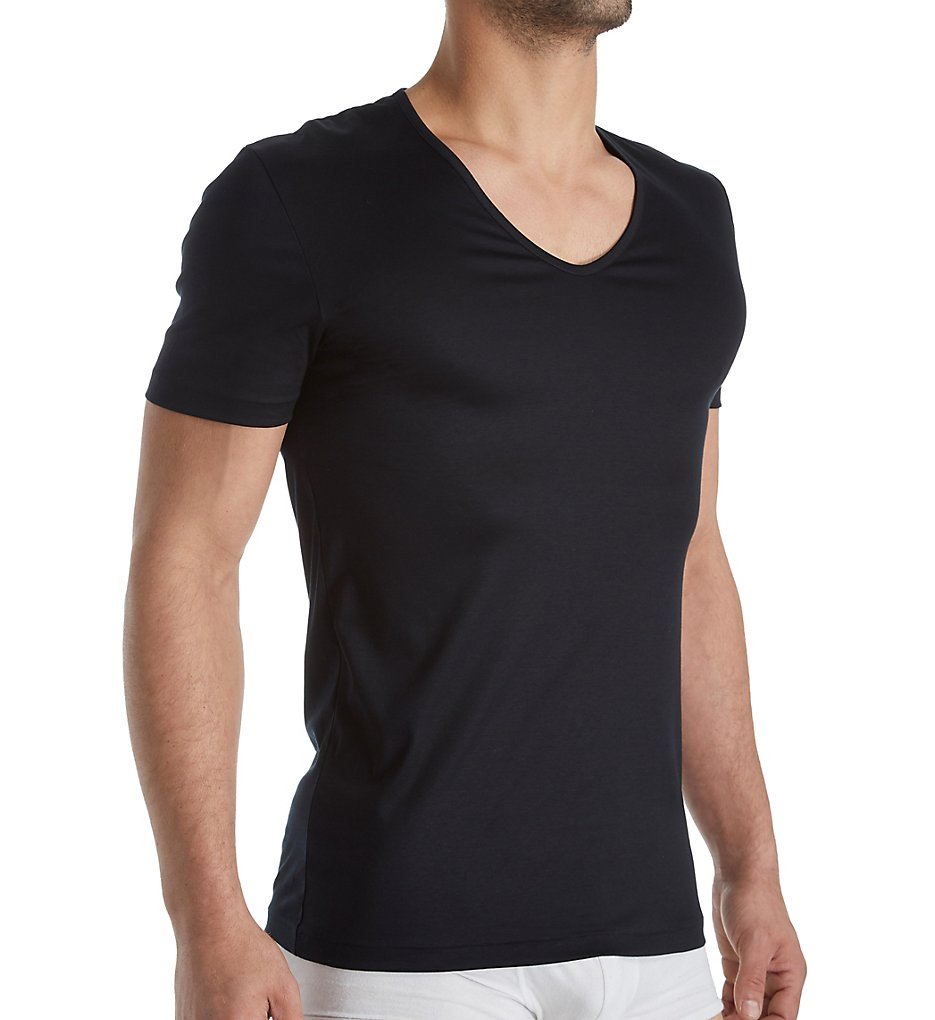 zimmerli 2861442 sea island luxury cotton v neck t-shirt (black 2xl)