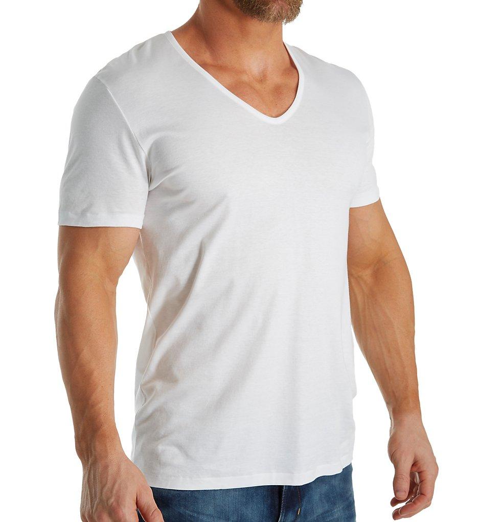 1448281 Zimmerli Linear Compositions Cotton V-Neck T-Shirt