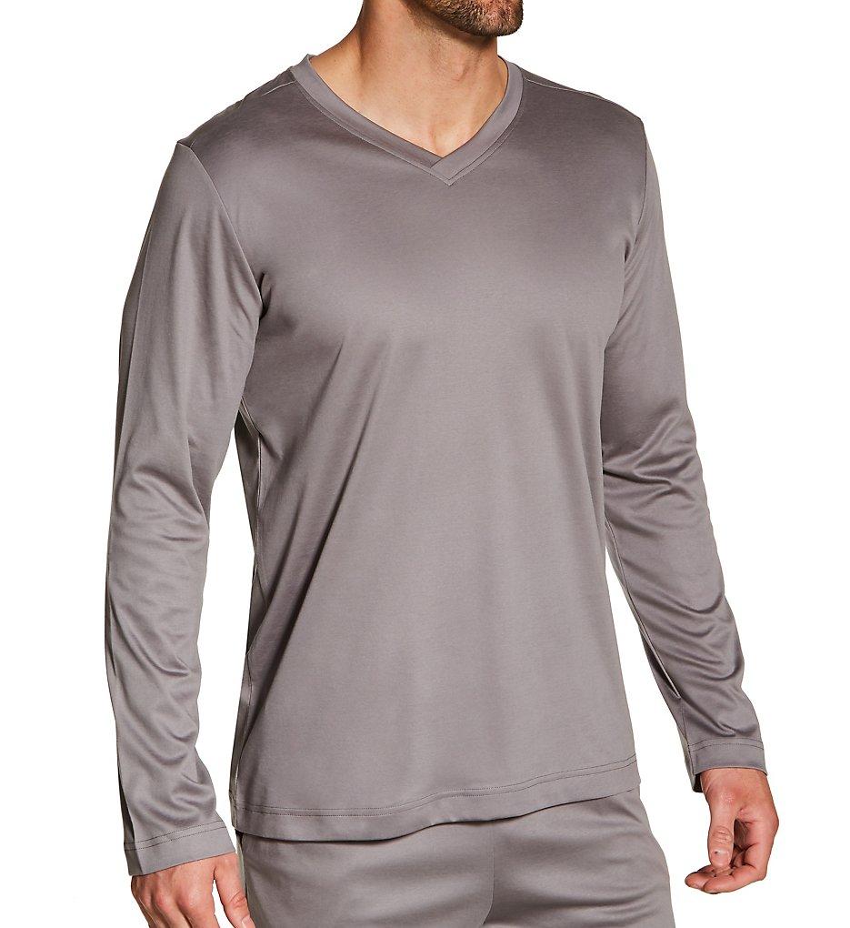 Zimmerli 6095302 Supreme Green Cotton Long Sleeve Pajama Shirt (Grey S)