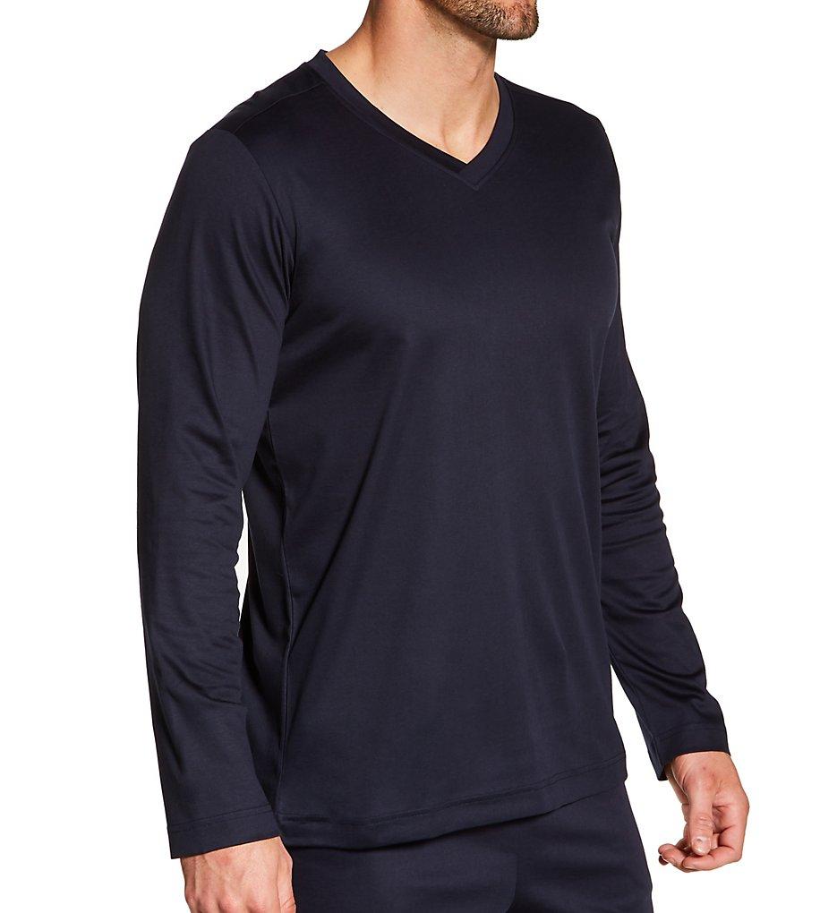 Zimmerli 6095302 Supreme Green Cotton Long Sleeve Pajama Shirt (Navy XL)