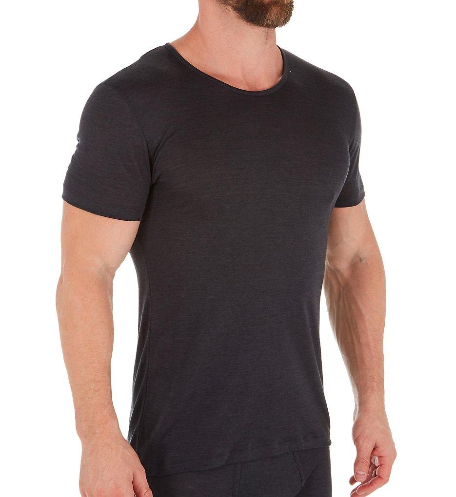 Zimmerli 7101450 Wool & Silk Blend Crew Neck T-Shirt (Charcoal XL)