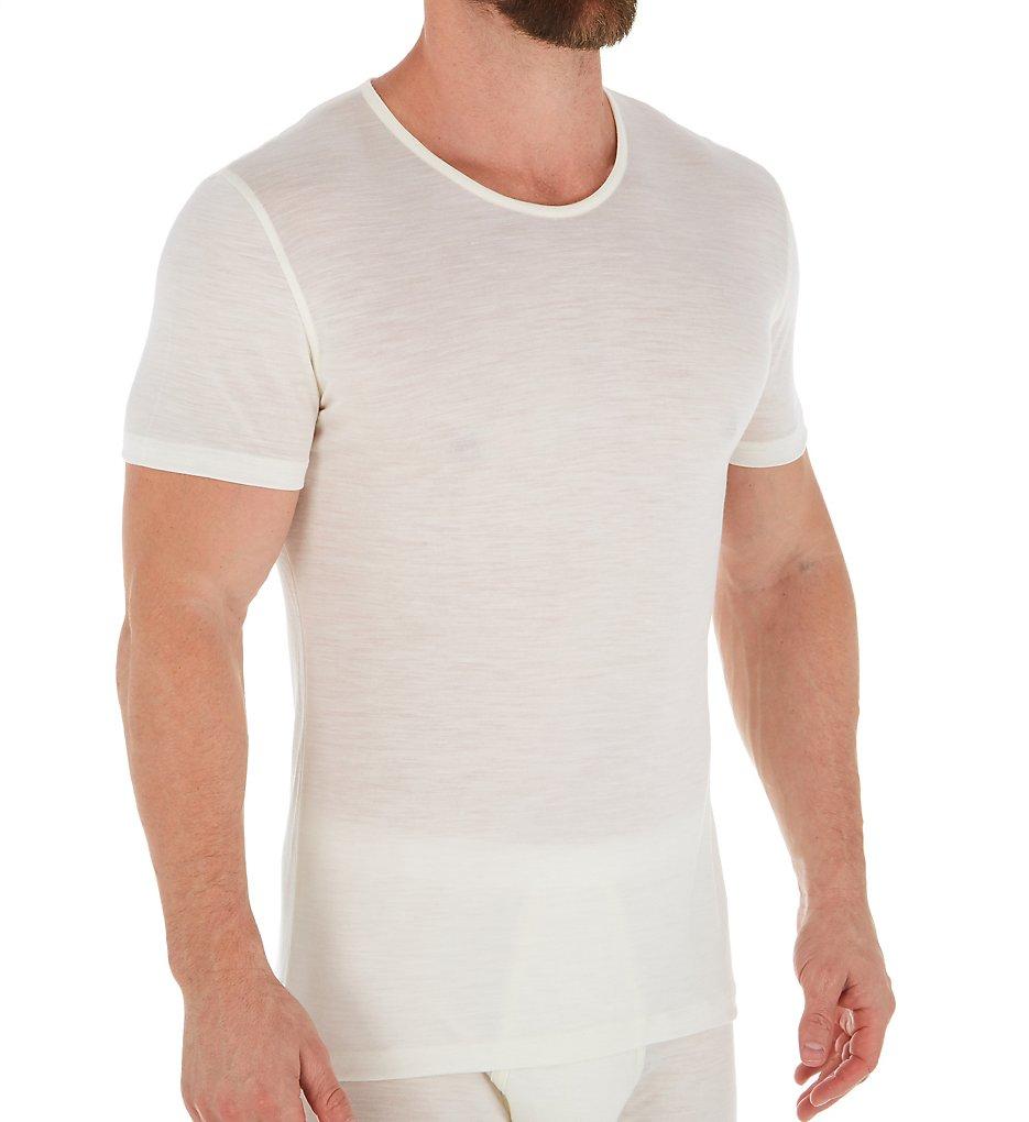 Zimmerli 7101450 Wool & Silk Blend Crew Neck T-Shirt (Ecru XL)
