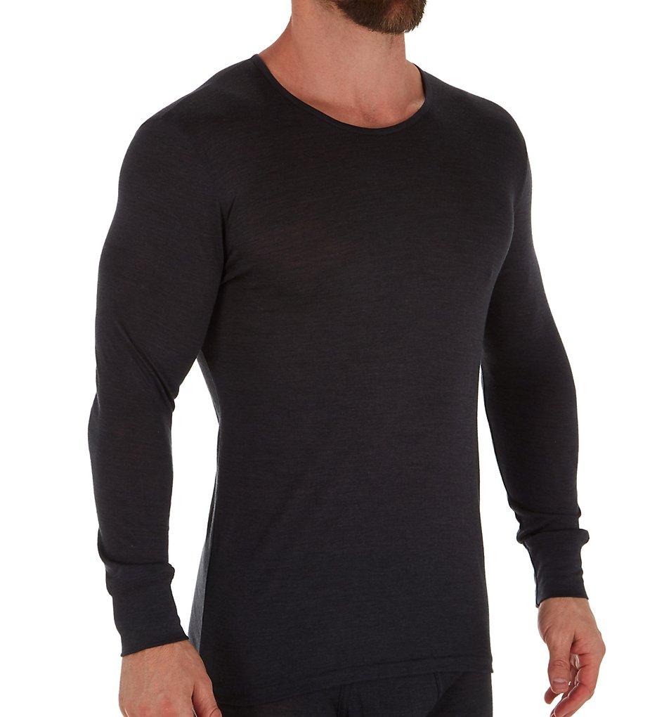Zimmerli 7101451 Wool & Silk Blend Long Sleeve T-Shirt (Charcoal XL)
